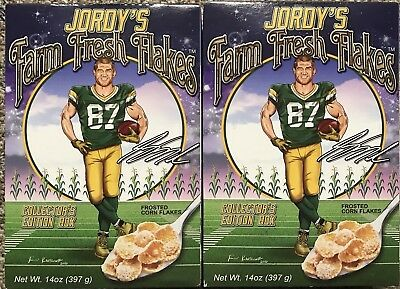 2 Boxes Jordy Nelson Farm Fresh Flakes Cereal Green Bay Packers NFL New Unopened