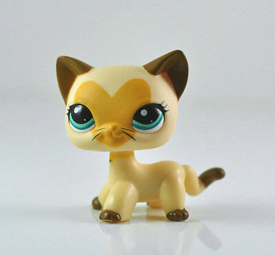 Littlest Pet Shop LPS Tan Brown Heart Face Short Hair Cat Toys Rare #3573