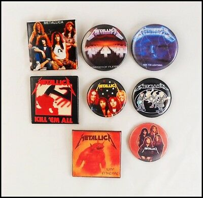 Metallica 80's 90's Lot Of 8 Buttons Pins Master Of Puppets Kill 'Em All