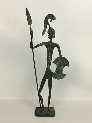 Mid Century Modern Ancient Greek Metal Soldier Hoplite WARRIOR Bronze Statue