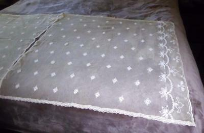 """PAIR ANTIQUE FRENCH TAMBOUR NET LACE CURTAIN  PANELS 36"""" L by 39"""" Wide"""