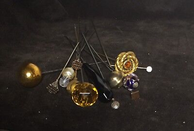 Lot Of 13 Antique Hatpins Hat Pins Collectible Various Styles & Sizes Vintage