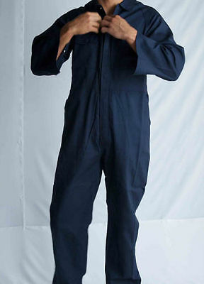 Mens Cotton Drill Coverall Long Sleeve Overall Work Wear Safety Boiler Suit