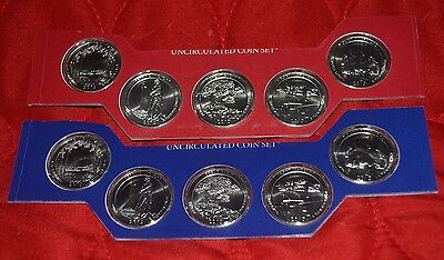 2013 America the Beautiful Quarters Complete P & D 10 Coin Set BU in Mint Cello