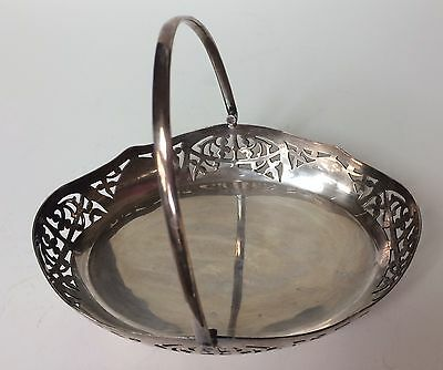 Vintage Small Silver Plate Oval Serving Dish W/Handle and Design Footed TOPOINT