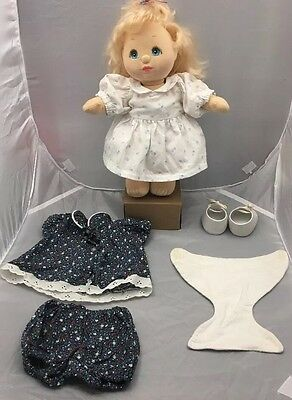 Mattel 1985 My Child Doll-Blonde Curly Hair,Blue Eyes & 11 Clothes,Diaper,shoes