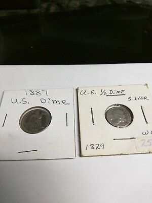 1829 USA Capped Bust Half Dime 5C 5 Cents. 1887 USA Dime