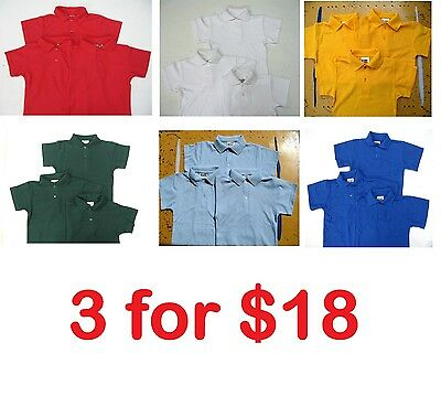 3x School Uniform Short Sleeve Polo Shirts Boys and Girls Schoolwear