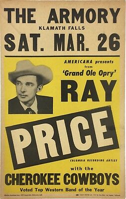 1955 Ray Price Grand Ole Opry Pre-Fillmore Boxing Style Concert Poster