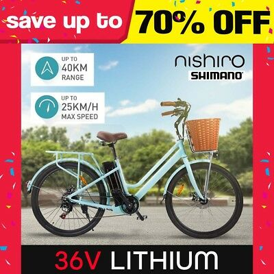"Nishiro Electric Bike eBike 26"" Bicycle Lithium Motorised 36V Battery Folding"
