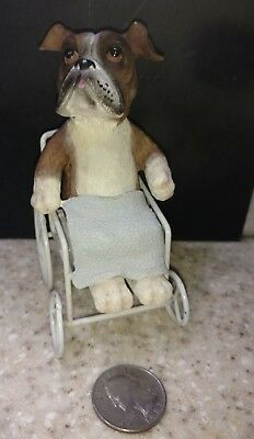 Boxer Dog Breed  in a Wheel Chair Dog  Figurine so Adorable !