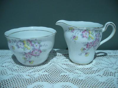 Colclough Vintage Bone China Sugar Bowl & Creamer Set - Hand Accented - Vgc