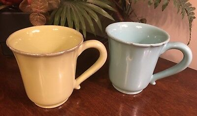 Qty 2 Artistic Accents Portugal Coffee Tea Mugs Cups Rustic Blue & Lime Green