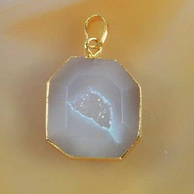 Natural Agate Druzy Geode Faceted Pendant Bead Gold Plated T046746