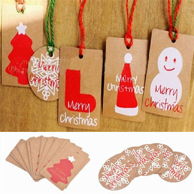 50pcs CHRISTMAS Holiday Party Hanging Kraft Paper Tags Favor Gift Card Label