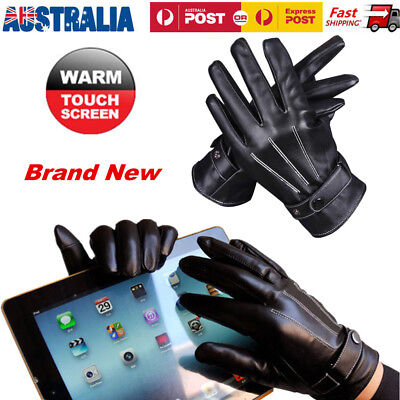 Men's Winter Warm Driving Smartphone Touch Screen Gloves Full Finger PU Leather