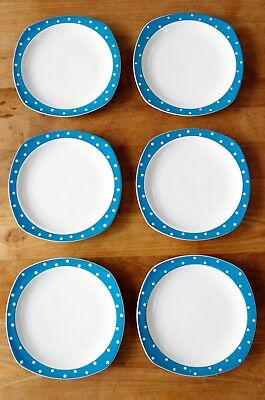 "Six Midwinter Stylecraft Plates 7.5""  - Turquoise Domino Design by Jessie Tait."