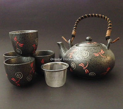 5 PCS. Japanese Chinese Ceramic Grey Slate Dragonfly Tea Set w/ Mesh Strainer
