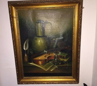 Antique Original Oil Painting Showing Violin Desk Music Signed By The Artist