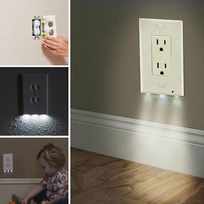 Cover Led Wall Outlet Night Light Plate Plug Lights Coverplate Hallway Bathroom
