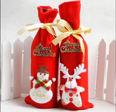 Red Wine Bottle Cover Bags Sequins Snowman/Santa Claus Christmas Decoration