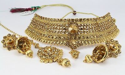 Indian Handmade LCT Golden fashion jewelry wedding Necklace Earring Tikka Set