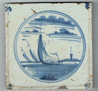 Antique Delft Tile Circa 1780 Boats