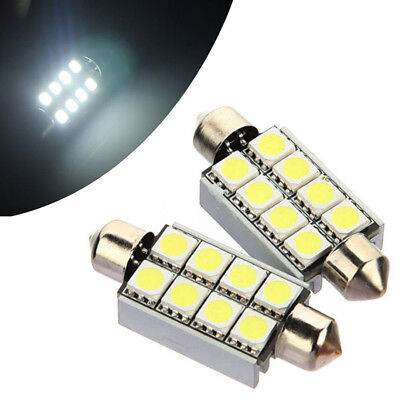2* 42mm 8 SMD 5050 LED Canbus Error Free Festoon Interior Light Bulbs Pure white