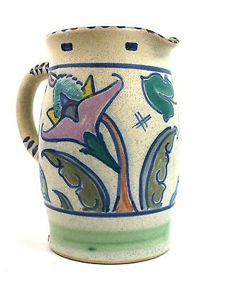 Early Honiton Pottery Large Jug Water Custard Hand Painted Foliate Ornament