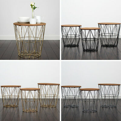 Modern 3 x Geometric Nesting Table Wooden Top Nest of Tables