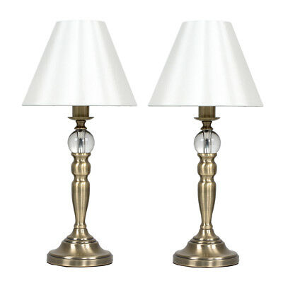 Pair of Classic Antique Brass Bedside Touch Dimmer  Lamps + LED Lightbulb