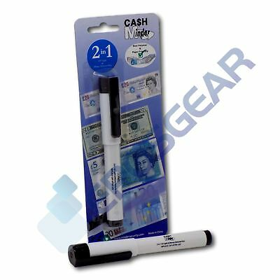 Cash Minder 2 in 1 Counterfeit Forged Note Detector Pen & Integrated UV Light
