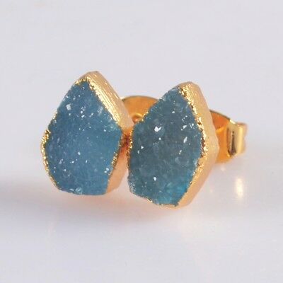 10x7mm Blue Agate Druzy Geode Stud Earrings Gold Plated T046818