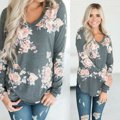 US Fashion Women Summer Loose Top Long Sleeve Blouse Ladies Casual Tops T-Shirt