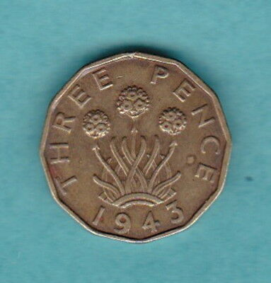 ENGLISH 1943 WWII KGVI THREE PENCE PRE-DECIMAL 12-SIDED Brass COIN:THRIFT FLOWER