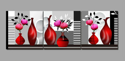 Photo Painting Canvas Red Vase Blooming Flowers Abstract Art Wall Decor Unframed