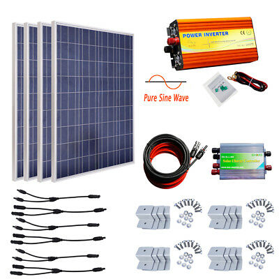 400W off Grid Solar System 4pcs 100W Solar Panel Charging Boat Home Camper Power