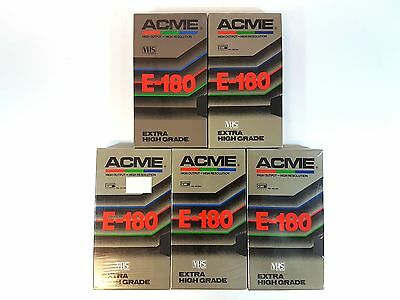 ACME Blank VHS Video Cassette 5 x E 180 Extra High Grade