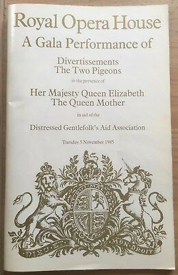 Royal Gala Ballet DIVERTISSEMENTS Queen Mother OPERA HOUSE PROGRAMME TWO PIGEONS
