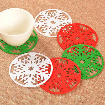 5/10pcs Xmas Snowflake Drinks Cup Holder Mat Non-woven Coasters Christmas Mat