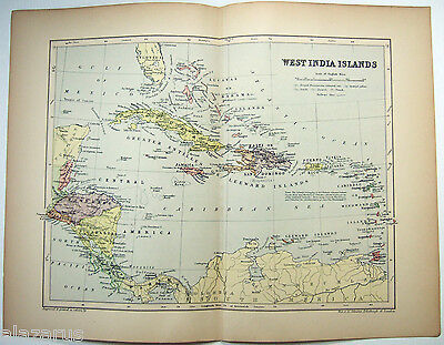 Original 1895 Map of The West India Islands by  W & A.K. Johnston
