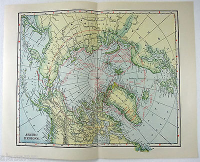 Original 1923 Map of The Arctic Regions by L. L. Poates