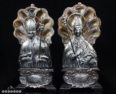 18th Century German Silver Reliquary Type Saint Busts