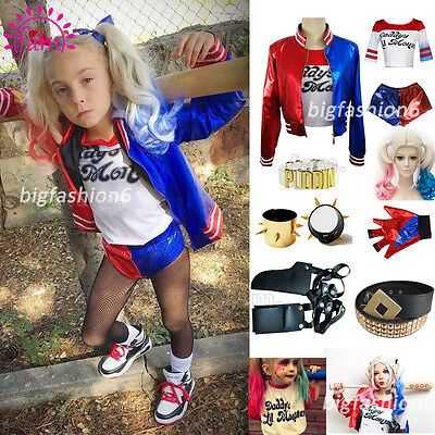 Hot Suicide Squad Harley Quinn Girls Womens Fancy Dress Cosplay Costume Outfit +