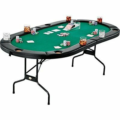 Poker Table 10 Player Texas Hold em Poker Casino Game Table w Cushioned Rail NEW