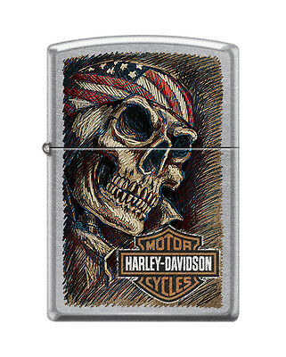 Zippo 4658, Harley Davidson-Skull & Flag, Street Chrome Finish Lighter