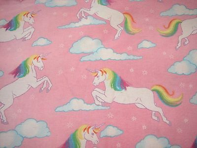 Flannelette Fitted Unicorns Pink Cot Sheet Handmade