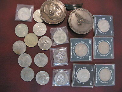 An array of old coins and various currency notes