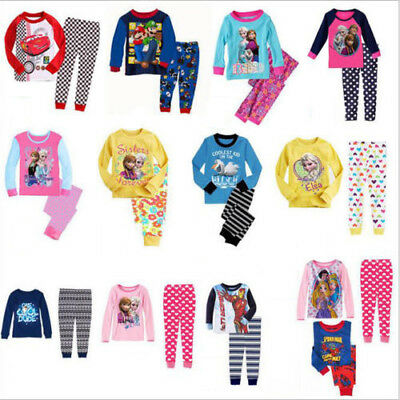 Frozen Thomas Peppa Kitty Spiderman Minions Princess Pyjamas Set Boy Girls 2-8