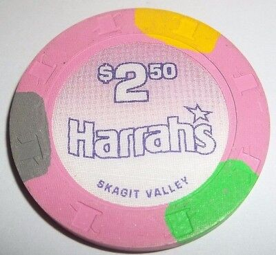 $2.50 HARRAH'S SKAGIT VALLEY Casino Chip  Item #949 Bow Washington #1
